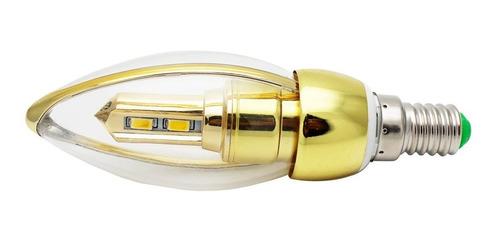 vela led e14 3w dorada luz calida filo 10 pz vdf3wc