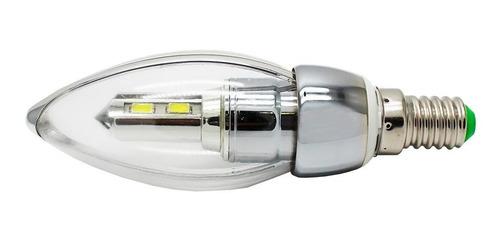 vela led e14 3w plata luz blanca filo 10 pz