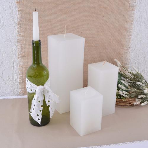 vela quadrada branca pilar tamanho super grande 9,5x9,5x28cm