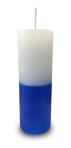 vela votiva 7 sete dias colorida branco e azul