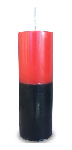 vela votiva 7 sete dias colorida vermelho e preto