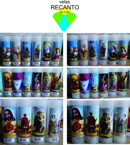 vela votiva parafina 100% - santos diversos - 12 unidades