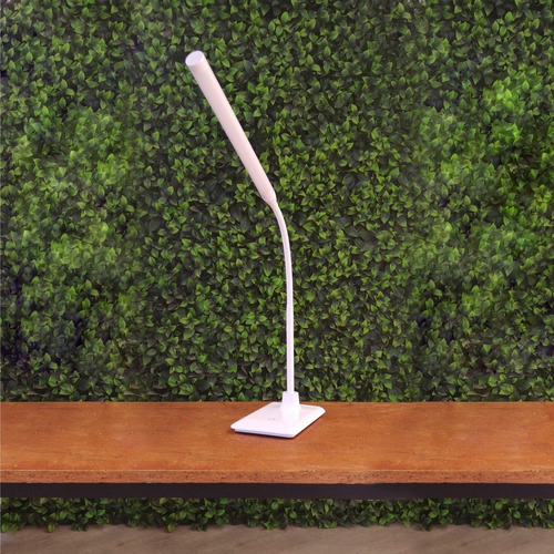 velador brazo flexible blanco luz neutra movil mesa escritorio tactil regulable 5w deco