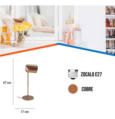 velador cobre cabezal deco moderno bala escritorio mesa