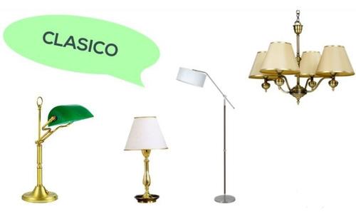 velador de bronce pantalla incluida apto led bajo consumo