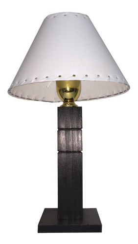 velador de madera base cuadrada con pantalla plástica lámpara habitación mesa de luz veladores con tulipa luz de noche