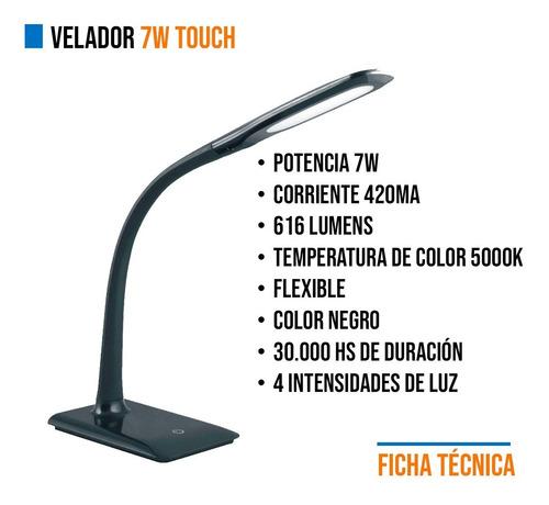 velador de mesa flexible 7w touch tactil led integrado