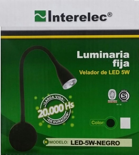 velador de pared led interelec 5w brazo flexible