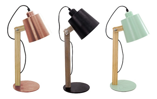 velador escritorio lampara madera nordica e27 paulo cobre