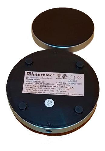 velador extensible led incorporado 3w 5000k blanco o negro