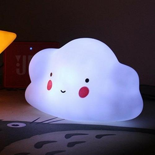 velador infantil nube lampara led luz de noche a pila !