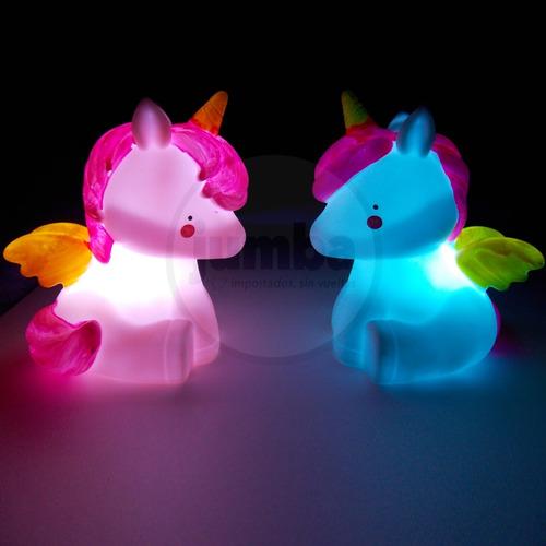 velador infantil unicornio lampara led luz de noche a pila