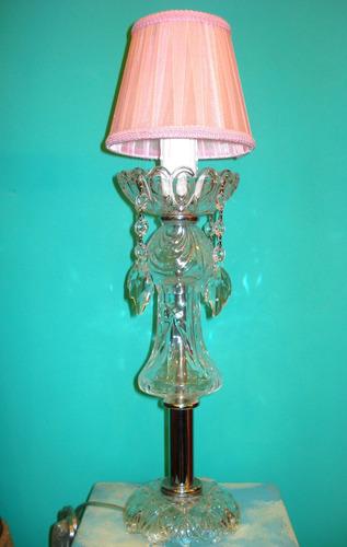 velador lámpara centro mesa c/ caireles de cristal facetado