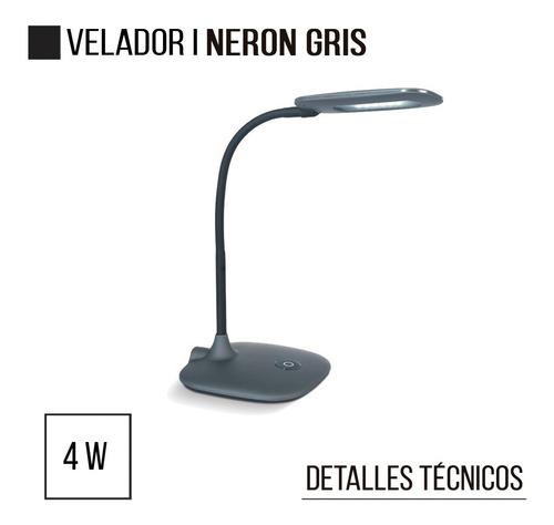 velador lampara de mesa escritorio neron gris 4w led