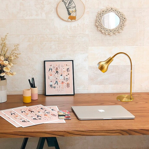 velador lampara escritorio dorado flexible vintage pera gu10