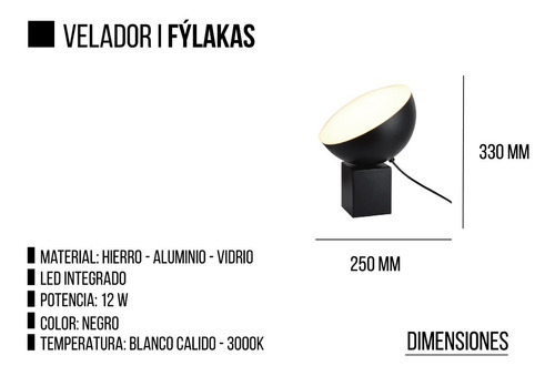 velador lampara fylakas leuk diseño led integrado