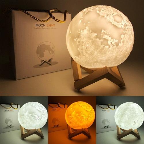 velador lampara recargable usb luna llena colgar 14 cm.