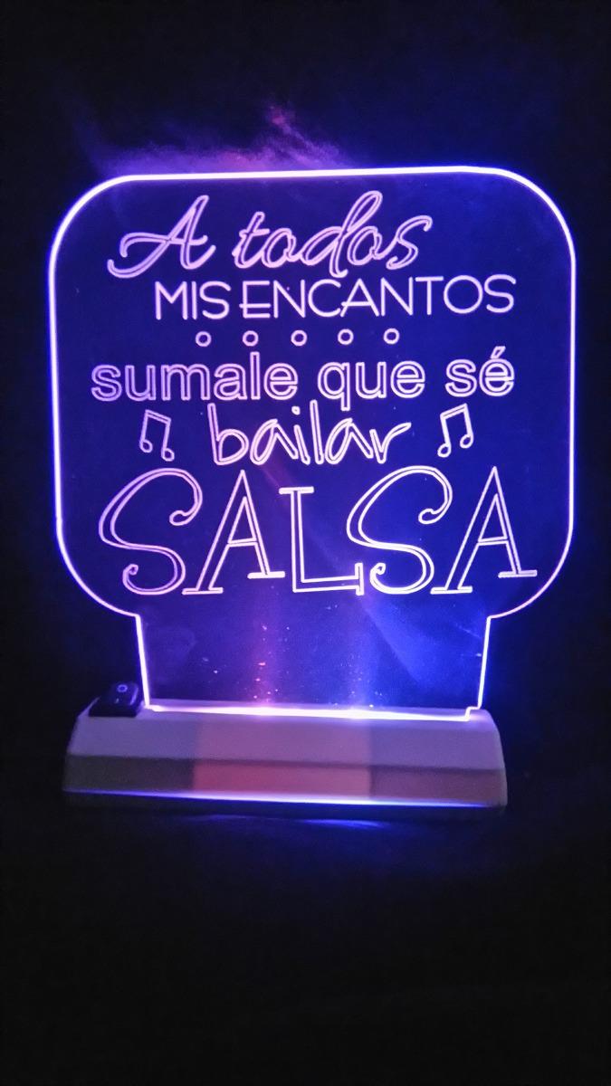 Velador Led Luz Noche Cuadros Baile Danza Frases