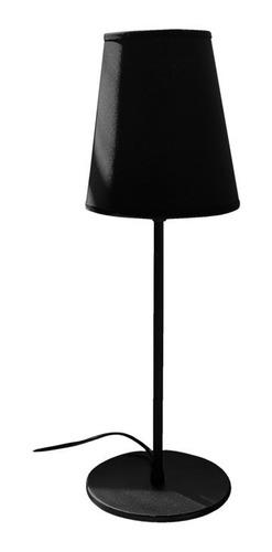 velador mesa chico negro pantalla tela deco vintage e27