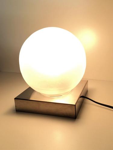 velador mesa de noche luz base acero lamparas 12 cuotas