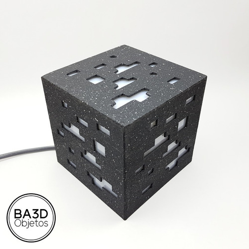 velador minecraft cubo 10x10x10 mineral luz led rgb control