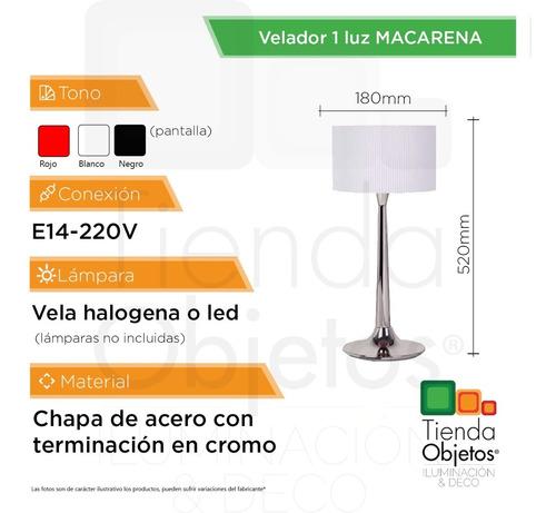 velador moderno 1 luz dormitorio macarena tela ronda