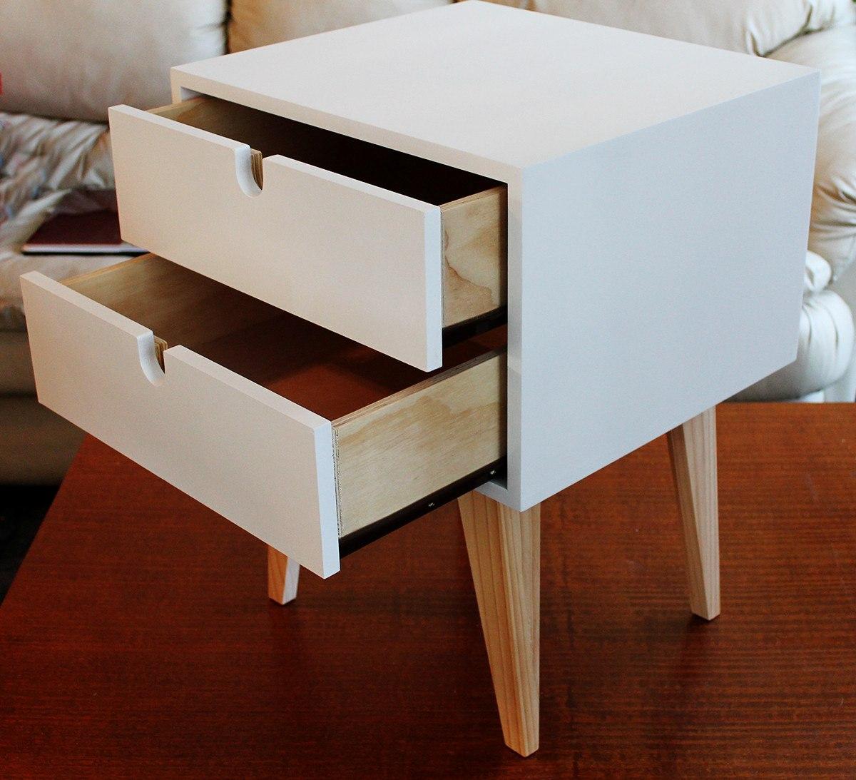 Velador retro blanco ebacam muebles en mercado for Muebles retro