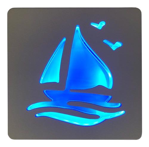 veladora led barco de madera - lámparas uy