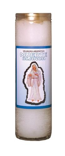 veladora santa muerte blanca - atrae protección y paz