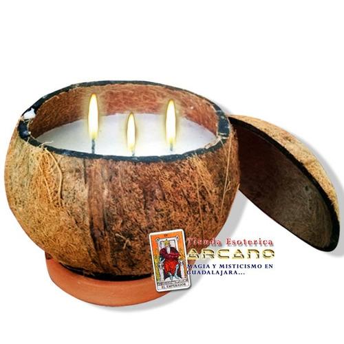 veladora santería de coco eleggua - 3 mechas abrecaminos