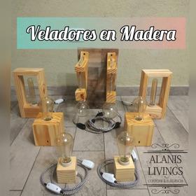Veladores En Madera - Box - Nordico - Lampara Antique