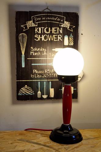 veladores modernos 1 luz  esfera vidrio  madera laqueada