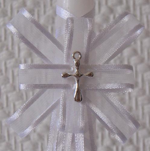 velas blancas decoradas para bautizo o comunion,bellas