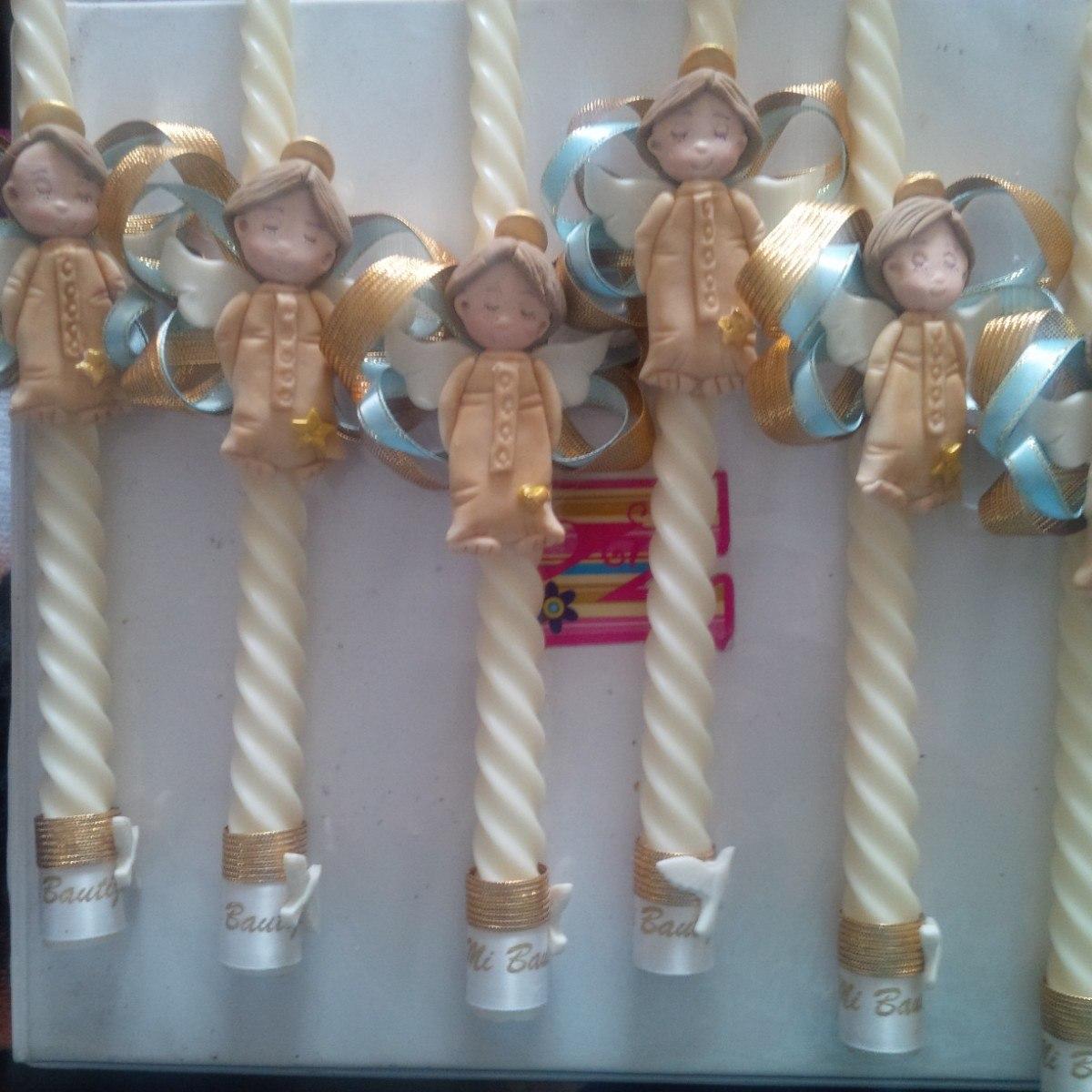 Velas decoradas para bautizos y comuniones bs for Decoracion de velas para bautizo