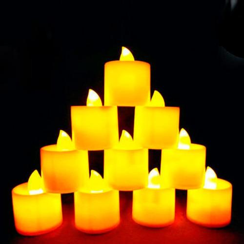 velas decorativas led amarelo baterias inclusas kit 24 un