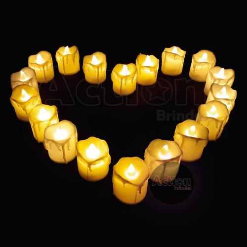 velas decorativas led amarelo e branco kit 24 un