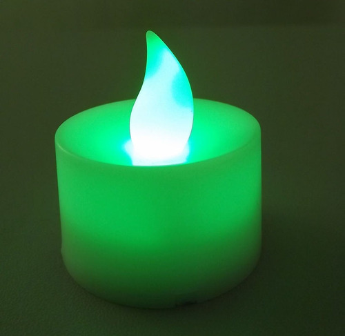 velas decorativas led verde baterias inclusas kit 24 un