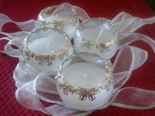 velas en porta velas de vidrio - diseño unico!