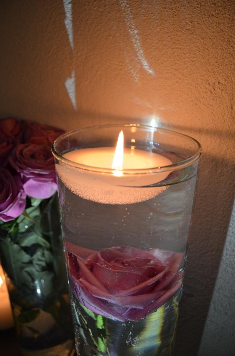 Velas flotantes para florero de cristal para boda aluzza en mercado libre - Sobre de cristal para mesa ...
