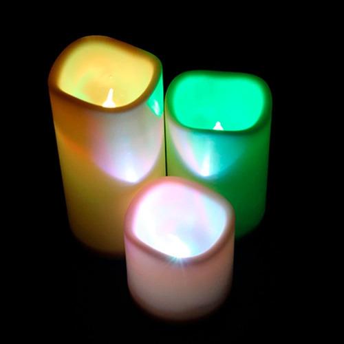 velas led cera 3 piezas a control 12 colores intercambiables