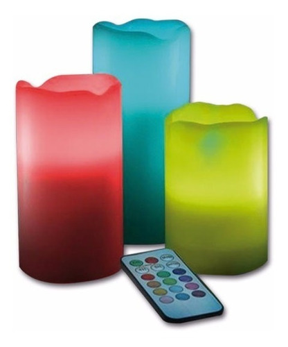 velas led juego de 3 piezas con 12 colores y control remoto