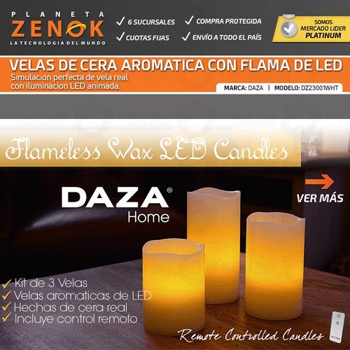 velas led noche electronicas kit de 3 velas cera real