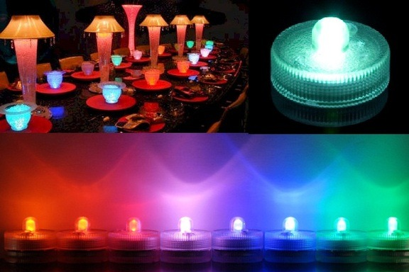 velas led sumergibles en agua ideales para centros de mesa