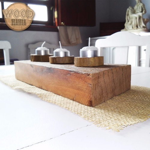 velas madeira castiçal