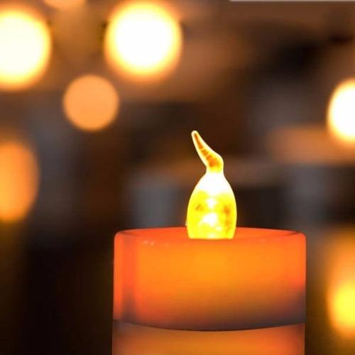 velas velitas led ambar efecto fuego llama c/pilas x 24u.