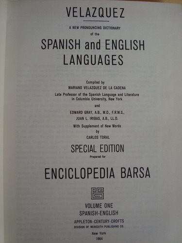 velazquez pronouncing dictionary appleton enciclopedia barsa