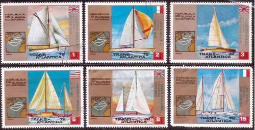veleros - regatas  - serie 6 valores - guinea ecuatorial -