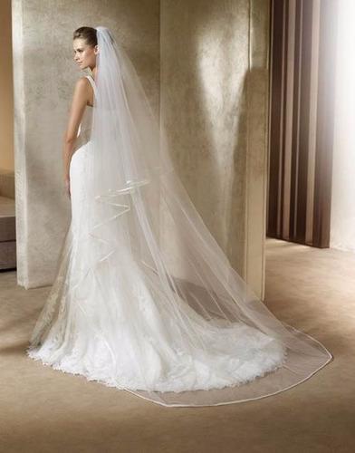 velo de novia 3m sencillo orilla mantilla  color blanco dhl