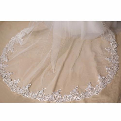velo de novia    apliques fino bordados mantilla ivory 3m