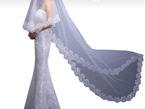 velo novia 2.70 mts catedral blanco/ivory bordado + peine